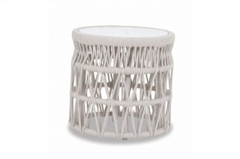 Dana Rope End Table w/ Honed Carrera Stone Insert 20