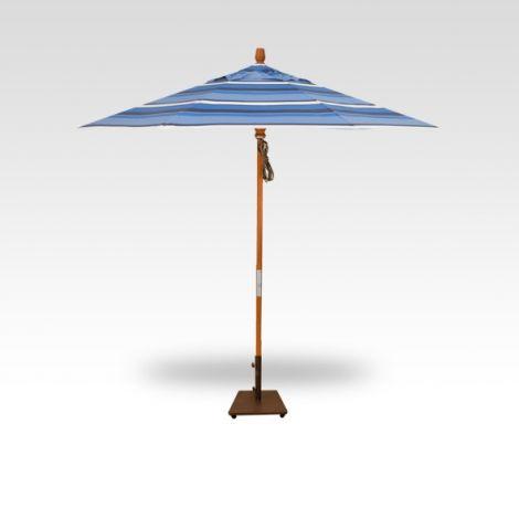 9' Wood Market Umbrella - Hampton Stripe