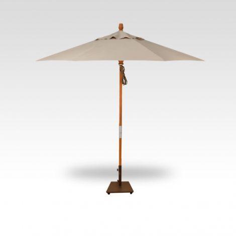 9' Wood Market Umbrella - Khaki
