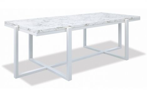 Rectangle Table with Honed Carrara Marble
