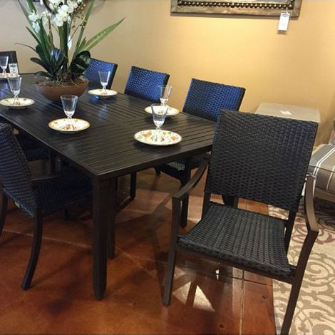 Scottsdale Wicker 9 PC Dining Set - Walnut