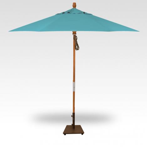 9' Wood Market Umbrella - Aqua