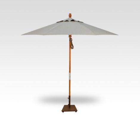 9' Wood Market Umbrella - Silver Linen