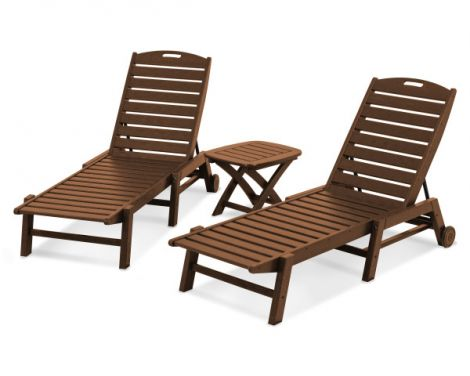 Nautical 3-Piece Chaise Lounge Set
