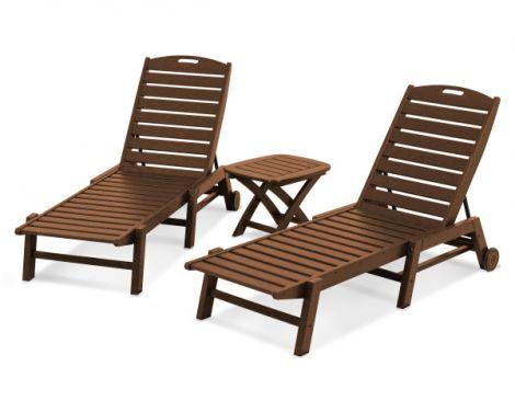 Nautical 3-Piece Chaise Lounge Set