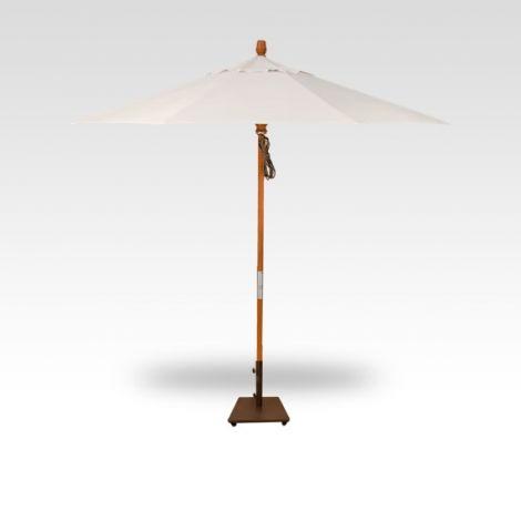 9' Wood Market Umbrella - Vanilla
