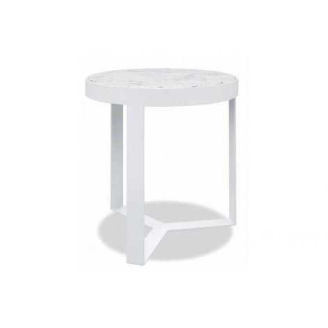 "18"" Honed Carrara Round End Table"