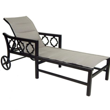 Belle Epoque Padded Sling Chaise Lounge w/Wheels