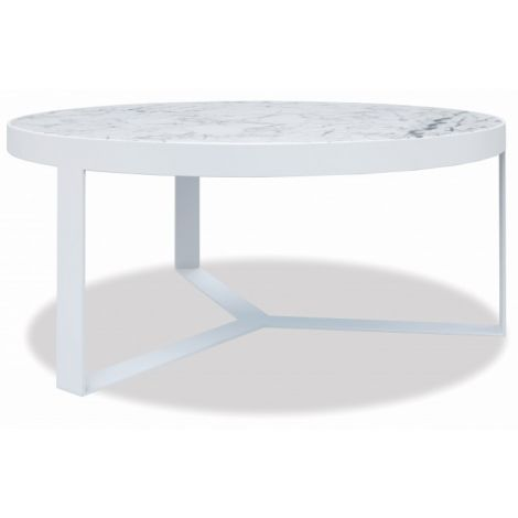 "38"" Honed Carrara Round Coffee Table"