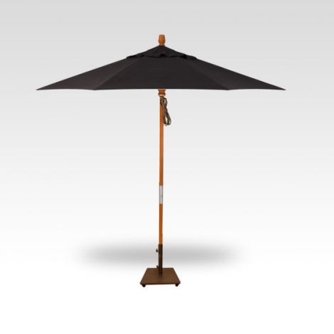 9' Wood Market Umbrella - Black