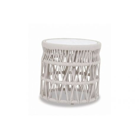 Dana Rope End Table w/ Honed Carrera Stone Insert 20""