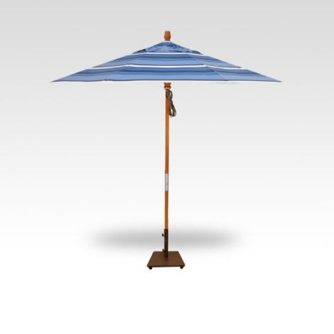 9' Wood Market Umbrella - Hampton Stripe