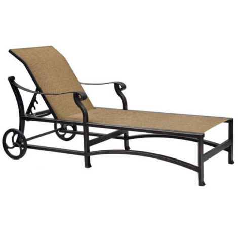 Madrid Sling Chaise Lounge w/ Wheels