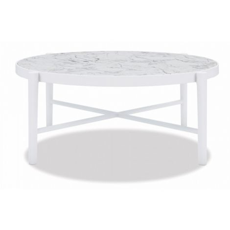"40"" Honed Carrara Round Coffee Table"