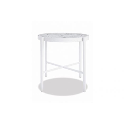 "20"" Honed Carrara Round End Table"