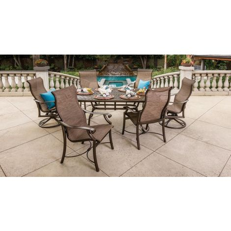 "Montreux Sling 7-Piece Dining Set w/ 70"" x 43"" Garden Terrace Dining Table"