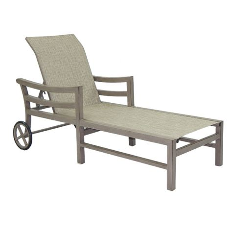 Roma Sling Chaise Lounge w/ Wheels