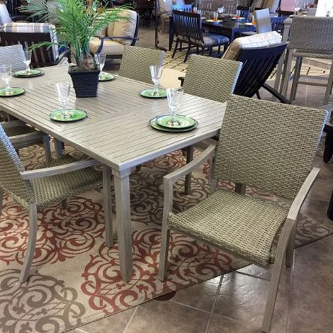 Scottsdale Wicker 9 PC Dining Set - Driftwood