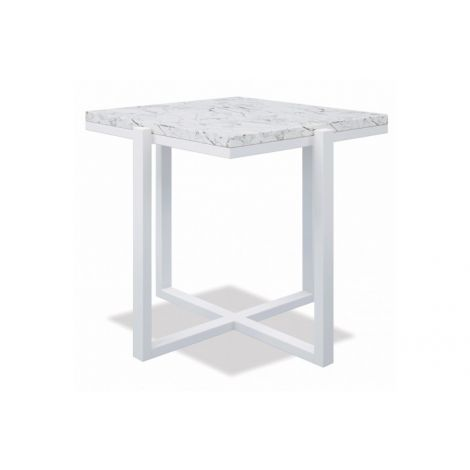 "22"" Square End Table with Honed Carrara Marble"