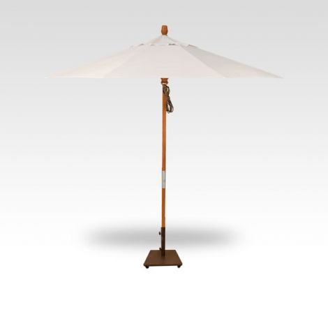 9' Wood Market Umbrella - Vanilla